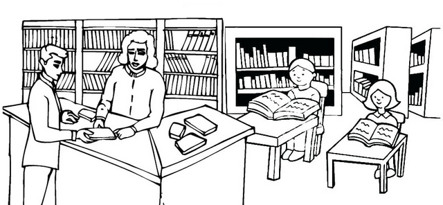 Children Reading and Rent Books in the Library Coloring Page