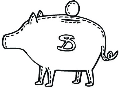 Count Coints in Piggy Bank Clipart
