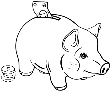Cute Piggy Bank Coloring Page