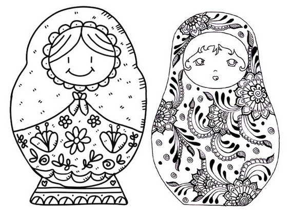 Cute Russian Dolls Coloring Page
