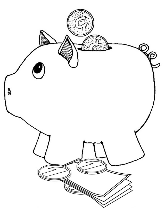 Deposit Piggy Bank Coloring Page