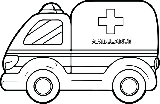 Fun Red Cross Ambulance Coloring Page