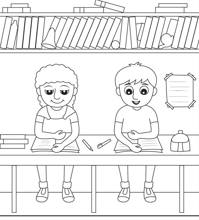 Kids Reading Books Coloring Page of Library