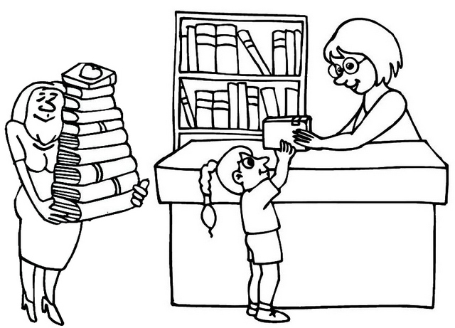 Librarian Bringing Books in the Library Coloring Page