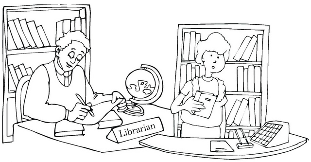 Librarian Coloring Page of Library Room Desk