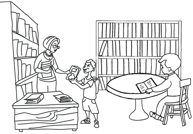 Library Activities Coloring Page