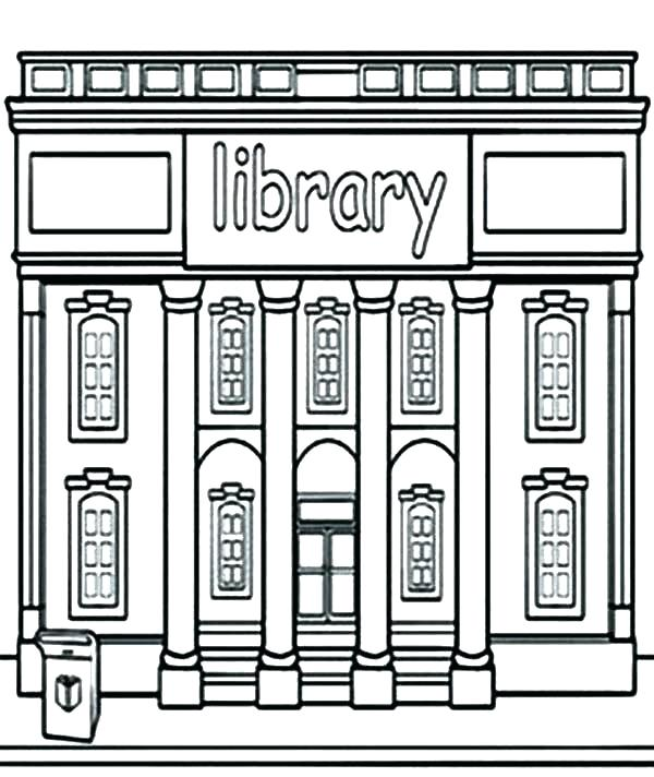 Library Building Coloring Page