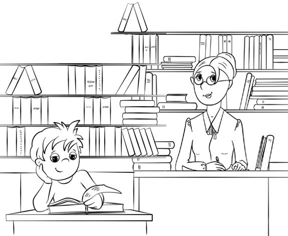 Library Student and Librarian Coloring Page