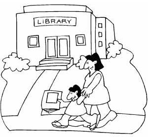 Mom and Kid Going to Library Coloring Page