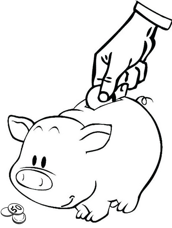 Piggy Bank Coloring Page for Learning Savings to the Kids