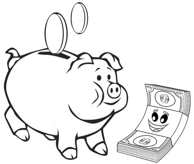 Piggy Bank Paper Money Coloring Page