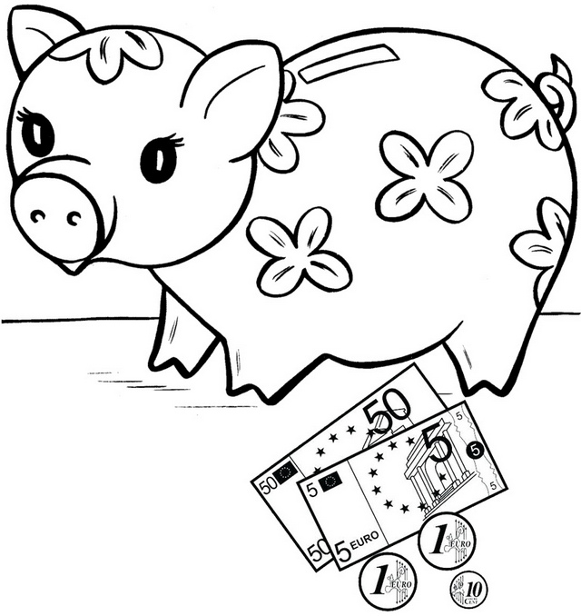 Piggy Bank decorated flowers Coloring Page of Savings for Kids