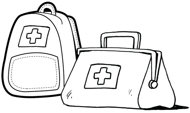 Red Cross Bag Coloring Page