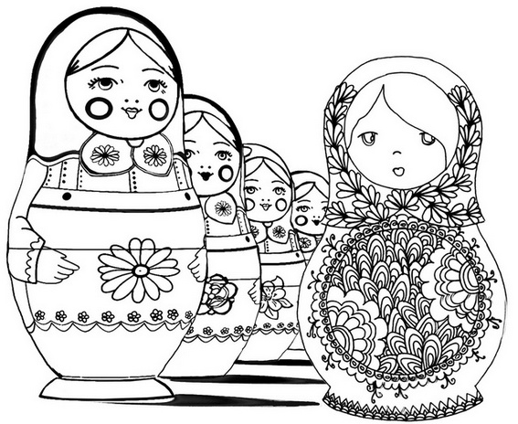 Russian Doll Matryoshka Coloring Page