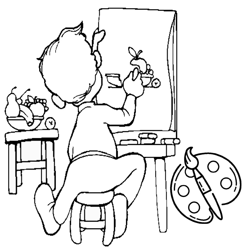 artist painter a boy paint on canvas coloring page