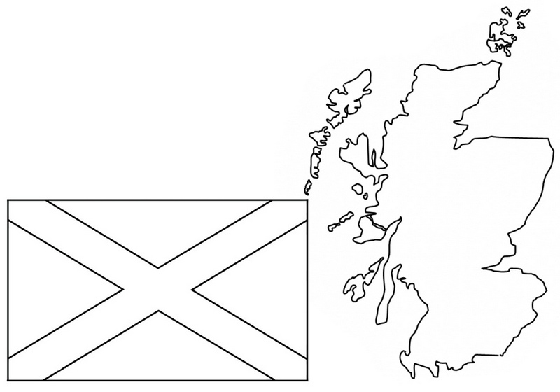 map and flag of scotland coloring page