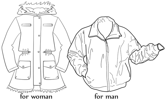 modern winter jacket for woman and man coloring page