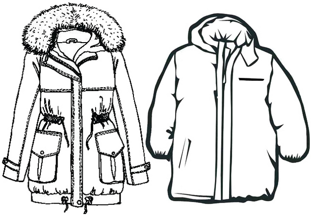 new winter jacket for man and woman coloring page