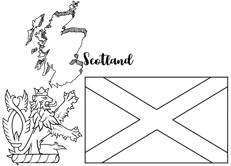 royal arms of scotland map flag coloring page