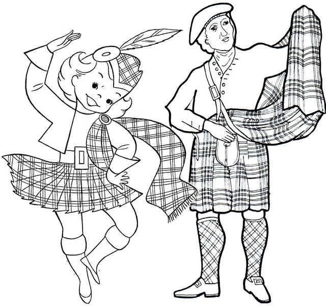 scotland dance woman and man coloring page