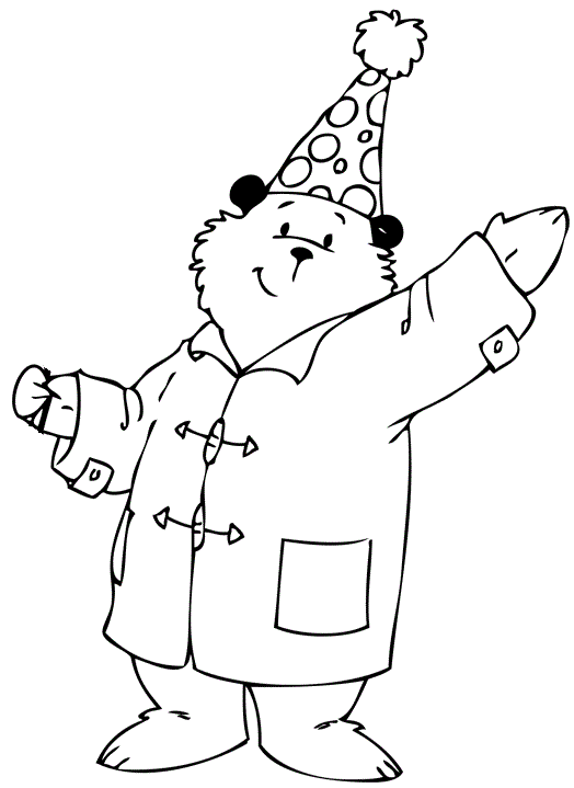 Birthday Paddington Coloring Page