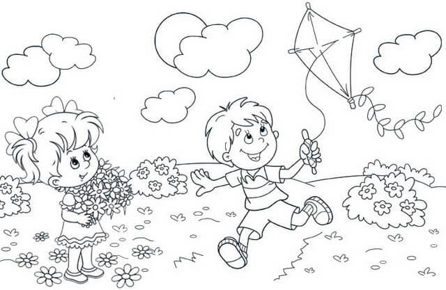 Boy Playing a Kite Coloring Page of Spring
