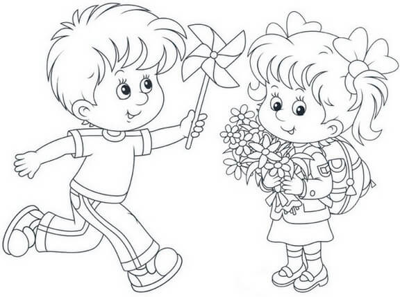 Boy and Girl Spring Coloring Page