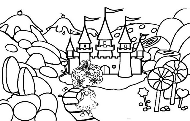 Candy Castle Coloring Pages of Candyland