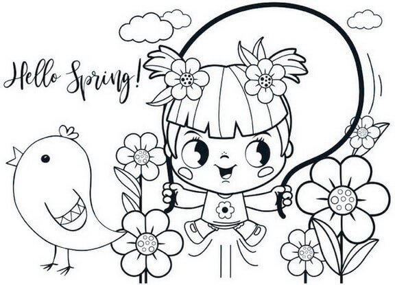 Chibi Coloring Page of Hello Spring