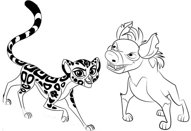 Janja and Fuli Coloring Page of the Lion Guard
