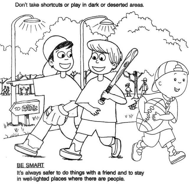 Kids Play and Learn Safety Coloring Page