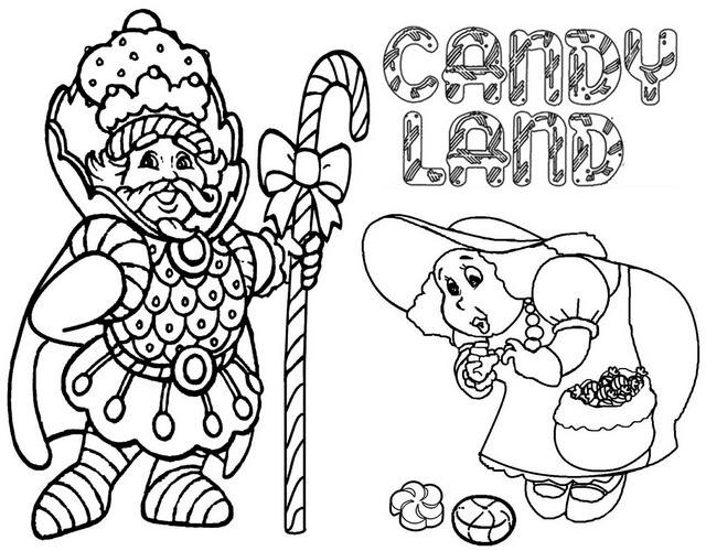 King Kandy and Gramma Nutt Coloring Page of Candyland