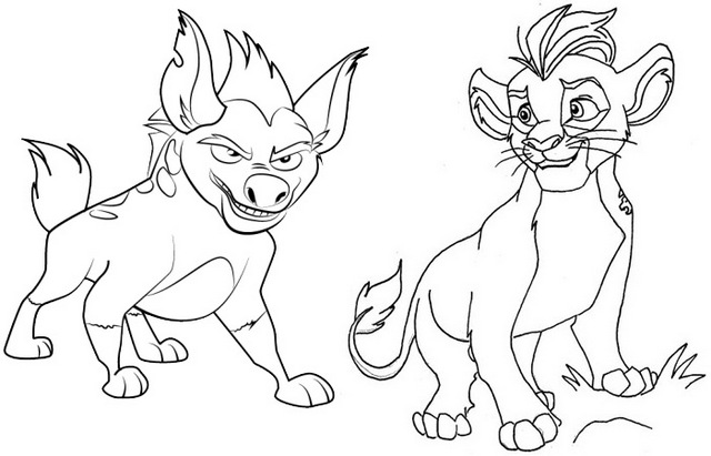 Kion and Janja Coloring Page of the Lion Guard