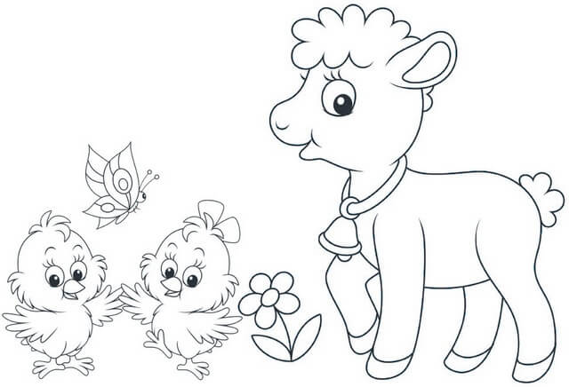 Lamb and Bird Cartoon Coloring Page of Spring