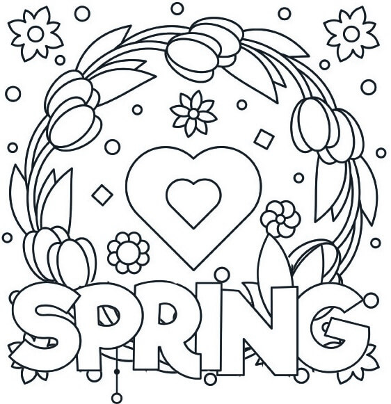Love Spring Leaf and Flower Coloring Page