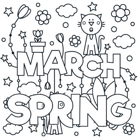 March Spring Coloring Page