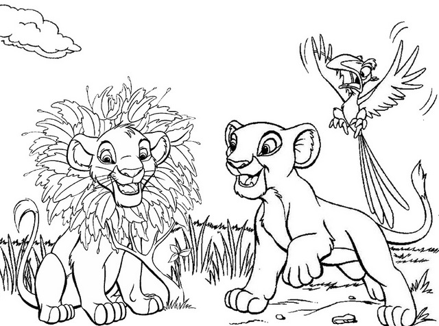 Simba Nala and Zazu in savana Coloring Page of the Lion King