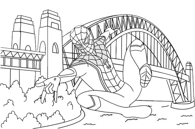 Spider Man far from home with sydney harbour bridge background coloring page