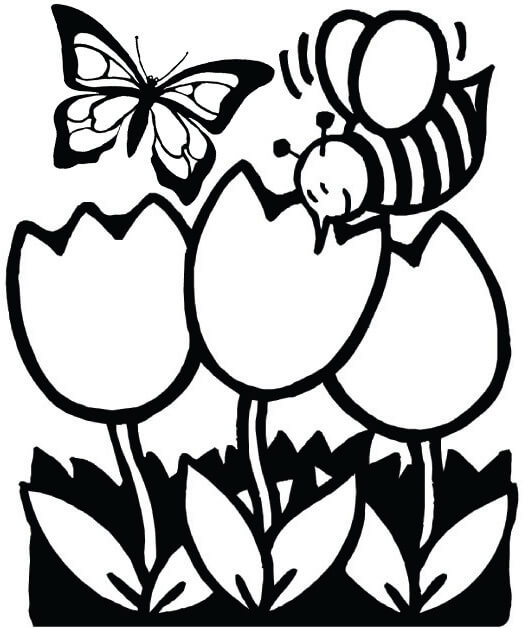Spring Flowers Garden with Butterfly and Bee Coloring Page