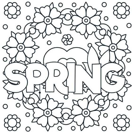 Spring Love and Mandala Coloring Page