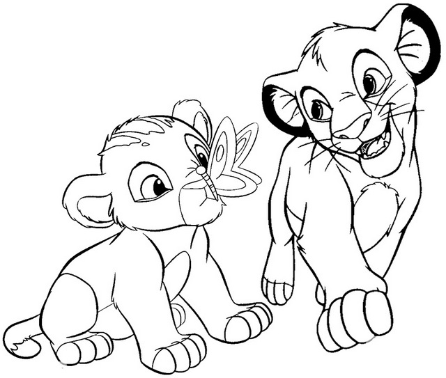baby simba and nala coloring page of the lion king