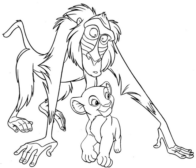 rafiki and simba coloring page