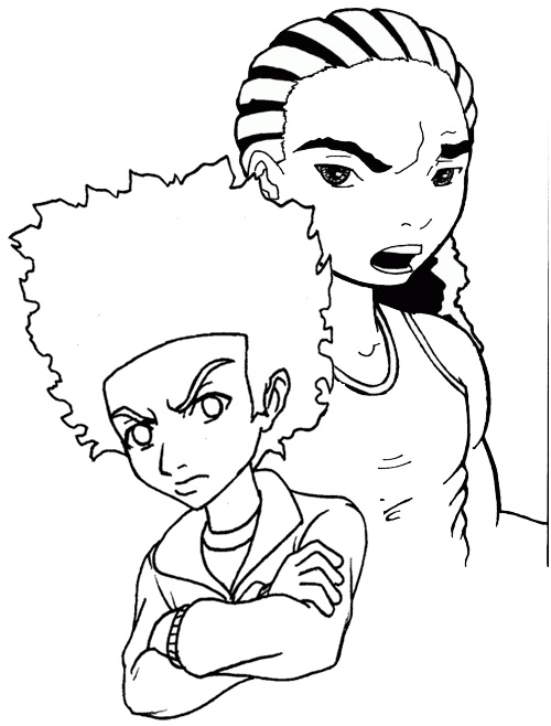 supreme the boondocks coloring page