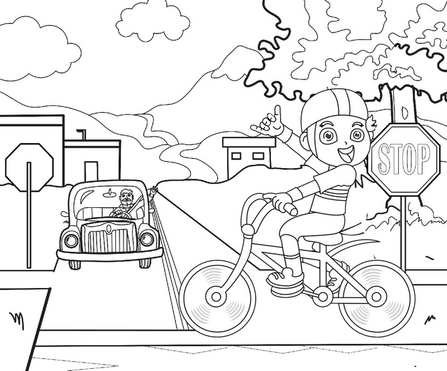 teaching kids street safety coloring page