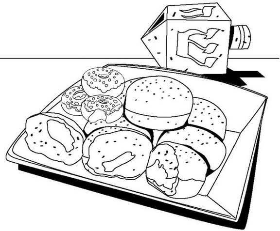 Donut Box Coloring Page
