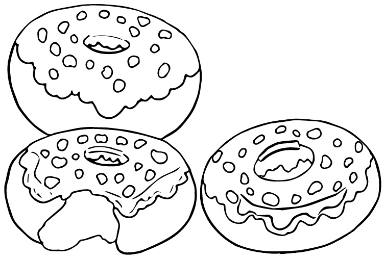 Nutty Chocolate Donut Coloring Page