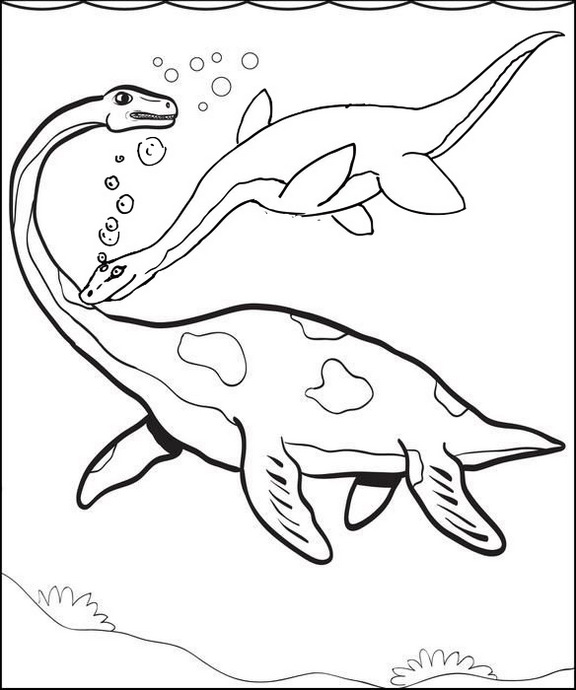 Plesiosaurus coloring page of marine reptile of the Jurassic period
