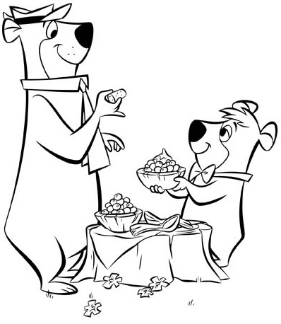 Yogi Bear and Boo Boo eating honey coloring page