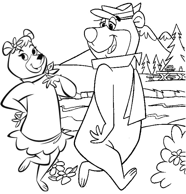 Yogi and Cindy Bear Walking Coloring Page