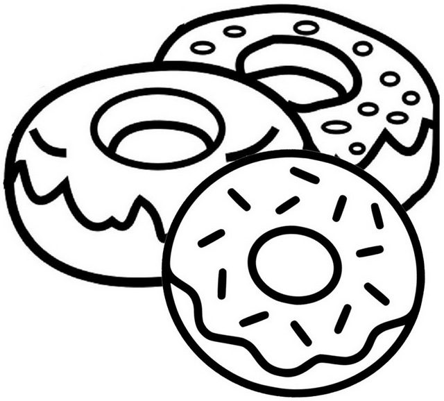 Yummy Donut Coloring Page